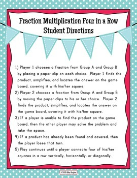 Multiply Fractions 4 in a Row Partner Game Differentiated in 3 Levels