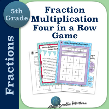 Multiply Fractions 4 in a Row Partner Game Differentiated