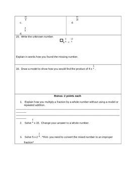 Multiply Fractions 4.NF.4 Test Assessment