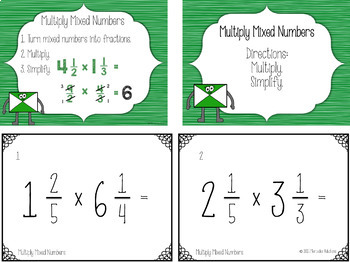 Multiply Fractions Bundle Task Cards and PowerPoint