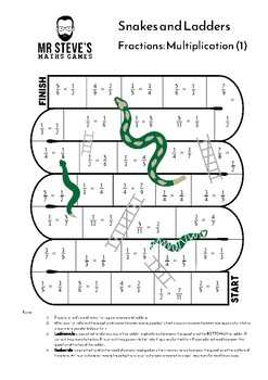 Multiply Fractions Game Snakes and Ladders Multiplication Year 6 Year 7 Year 8 A