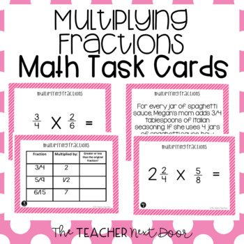 Multiply Fractions Task Cards for 5th Grade