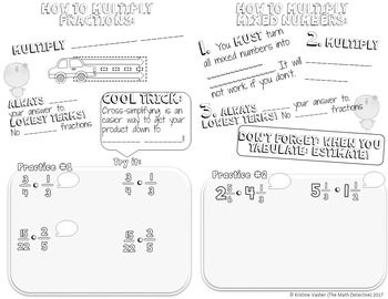 Multiply Fractions & Mixed Numbers - Doodle Note Brochure for INB