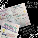 Multiply Fractions & Mixed Numbers - Decorated Notes Brochure for INB