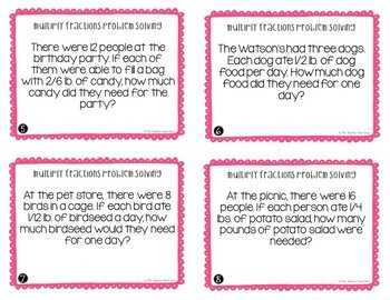 Multiply Fractions Problem Solving Task Cards for 4th Grade