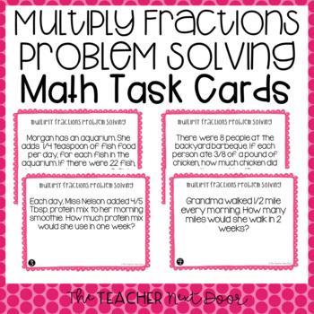 Multiply Fractions Problem Solving Task Cards | Multiplying Fractions Center