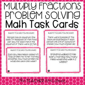 Multiply Fractions Problem Solving Task Cards for 4th Grade