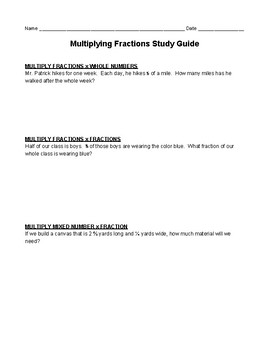 Multiply Fractions Study Guide