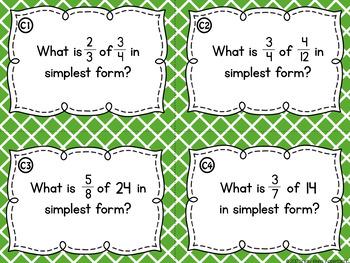 Multiplying Fractions Task Cards and Poster Set - Fraction Multiplication