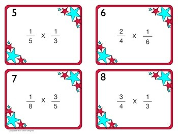 Multiply Fractions Task Cards Freebie