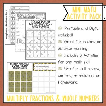 Multiplying Fractions by Whole Numbers Math Activities Puzzles and Riddle