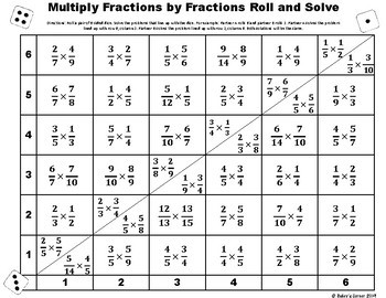 Multiply Fractions by Fractions Roll and Solve Math Center