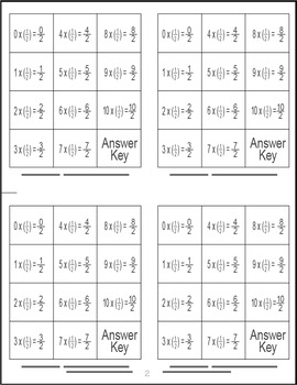 Multiply Fractions by Whole Numbers Memory Game