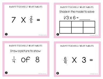 Multiply Fractions by Whole Numbers Task Cards for 4th Grade