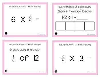 4th Grade Multiply Fractions by Whole Numbers Task Cards