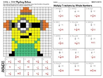 Multiply Fractions by Whole Numbers: Mystery Picture (Minion)
