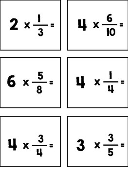 Multiply Fractions with Whole Numbers Task Cards