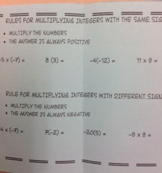 Multiply Integers Foldable