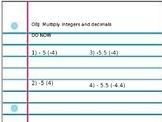 Multiply Integers and Decimals Practice