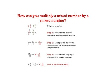 Multiply Mixed Numbers PowerPoint