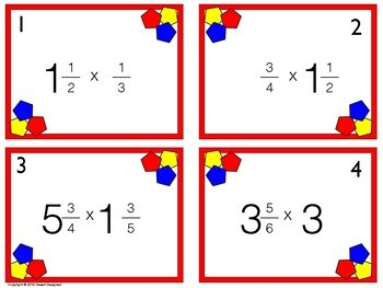 Multiply Mixed Numbers Task Cards
