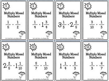 Multiply Mixed Numbers and Fractions Zap Cards TEKS 6.3E