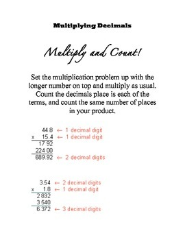Multiply Multi-Digit Decimals Notes Reference Sheet Common Core Aligned