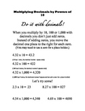 Multiply Multi-Digit Decimals Notes Reference Sheet Common