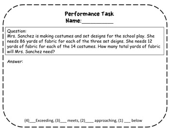 Multiply Multi-Digit Numbers Task Cards, Exit Ticket, and Performance Task