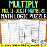 Multiply Multi-Digit Whole Numbers {5.NBT.5} Math Logic Puzzle