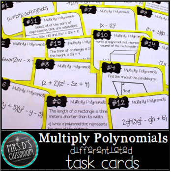 Multiply Polynomials Task Cards {Freebie}