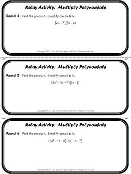 Multiply Polynomials Relay Activity
