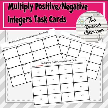 Multiply Positive/Negative Integers Task Card + 2 Additional Activities
