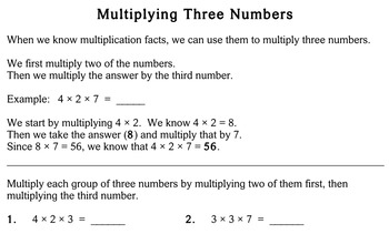 Multiply Three Numbers, 3rd grade - Individualized Math - worksheets