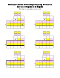 Multiply 3 x 2 Digit or 2 x 2 Digit Blank Multiplication Worksheet Color Coded