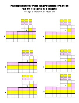 Multiply Up to 4 Digits x 2 Digits Blank Worksheets Multip