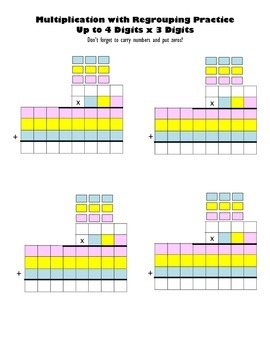 Multiply Up to 4 Digits x 3 Digits Blank Worksheets Multiplication