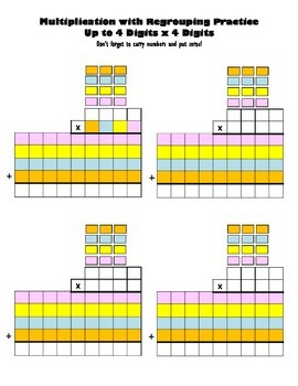 Multiply Up to 4 Digits x 4 Digits Blank Worksheets Multip
