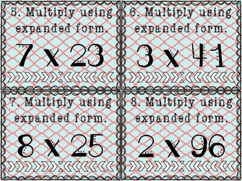 Multiply Using Expanded Form Task Cards 1 digit by 2 digit/3digit