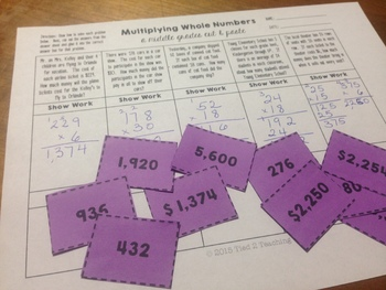Multiply Whole Numbers Center Activity