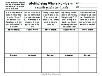 Multiply Whole Numbers (Cut & Paste) for the Middle Grades