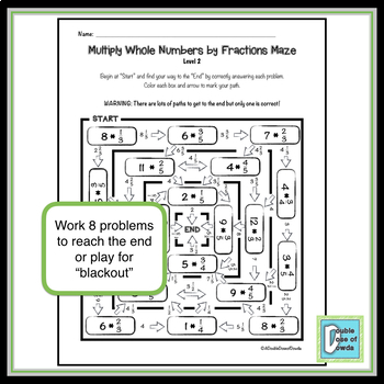 Multiply Whole Numbers by Fractions Maze 2