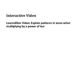 Multiply Whole Numbers by Multiples of 10 PowerPoint