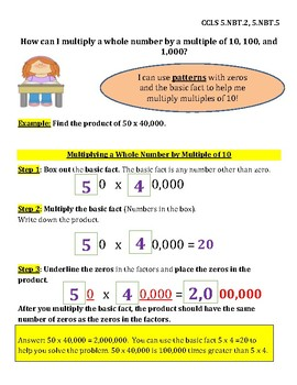 Multiply Whole Numbers by Multiples of Ten InstaChart