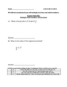 Multiply a Fraction by a Whole Number Exit Slip