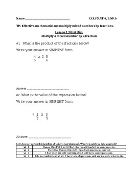 Multiply a Mixed Number by a Fraction Exit Slip