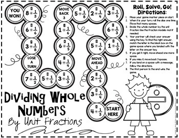 Divide a Whole Number By a Unit Fraction Game: 5.NF.B.7.B: 5th Grade Math Game