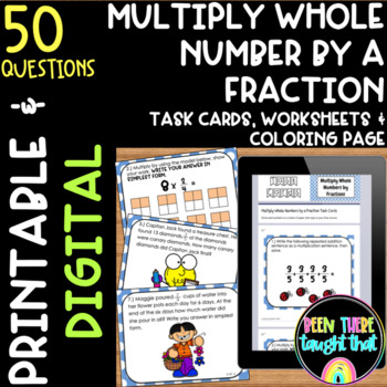 Multiply a Whole Number by a Fraction Task Cards, Worksheet & Coloring Page