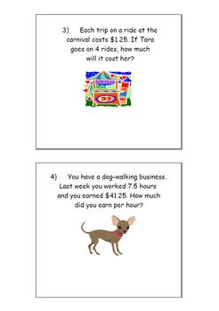 Multiply and Divide Decimals Applications Word Problems Smartboard
