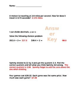 Multiply and Divide Decimals Assessment